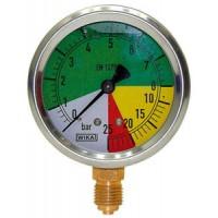 Wika manometre, pripojenie závitom,  Ø 63 mm, rozsah 0 - 60 bar